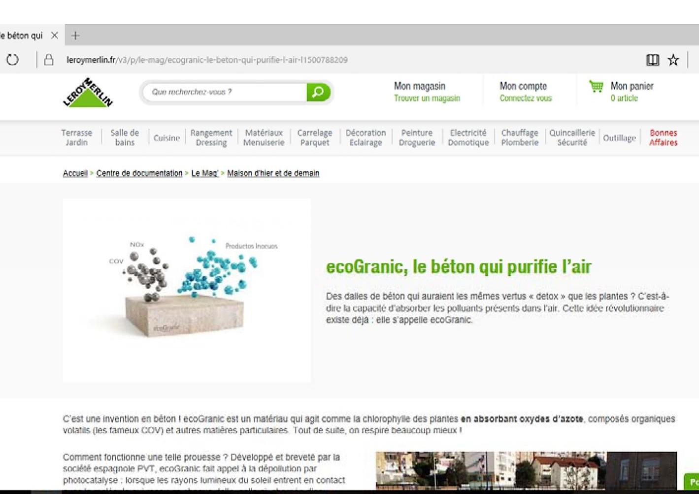 LEROY MERLIN Francia: EcoGranic, Le Béton Qui Purifie L'air